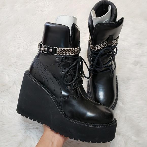 Rihanna Fenty × Puma Black Wedge Ankle Boots. M 5ba81bd09fe486eef5b6e642 b3a663409
